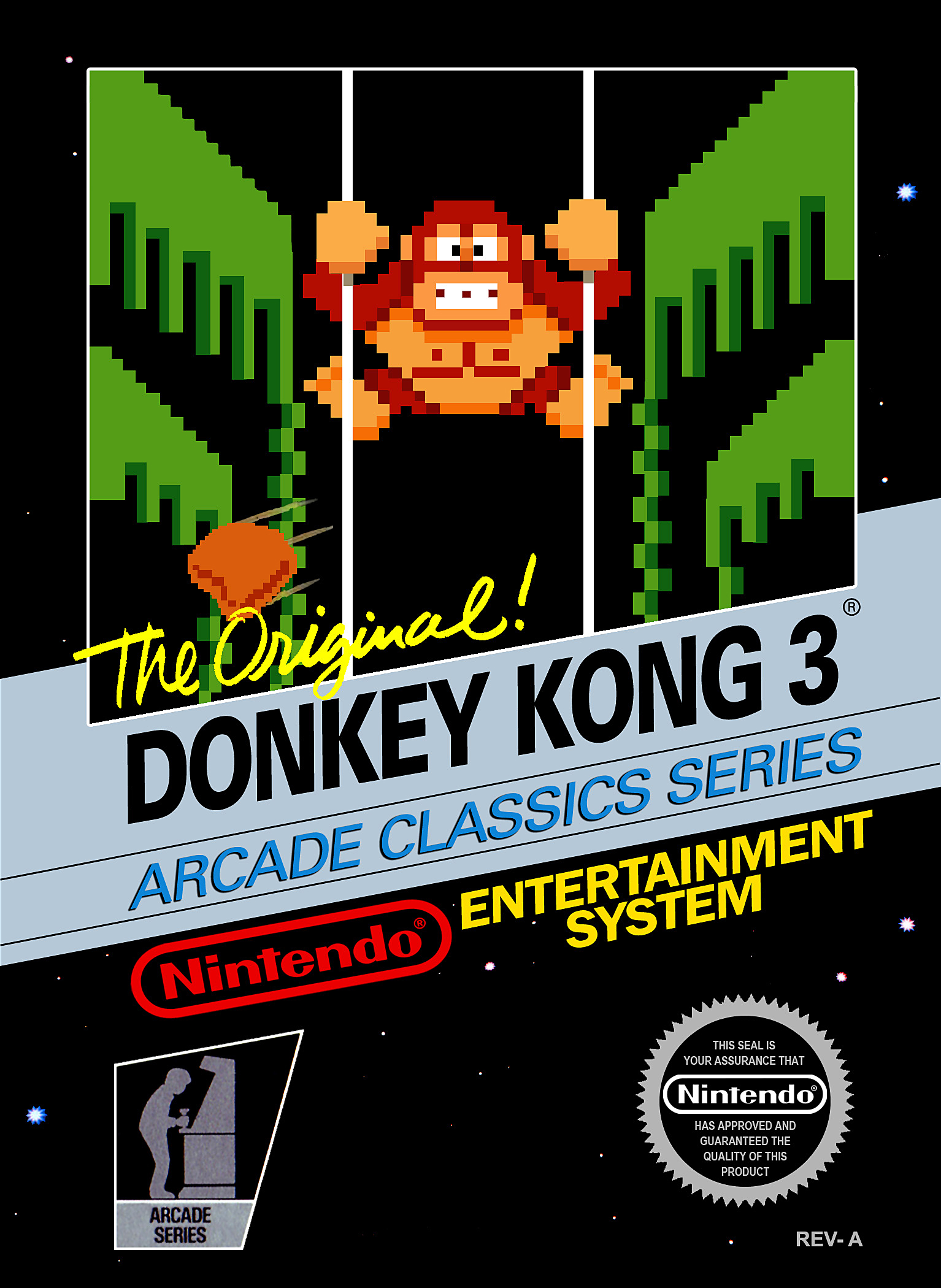 donkey kong 3 nes review sharkberg. Black Bedroom Furniture Sets. Home Design Ideas