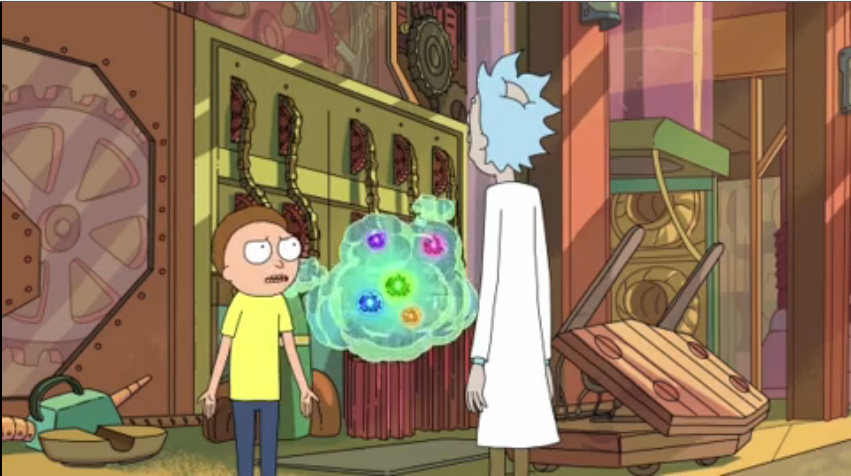 Morty, his fart friend, and Rick having a debate.