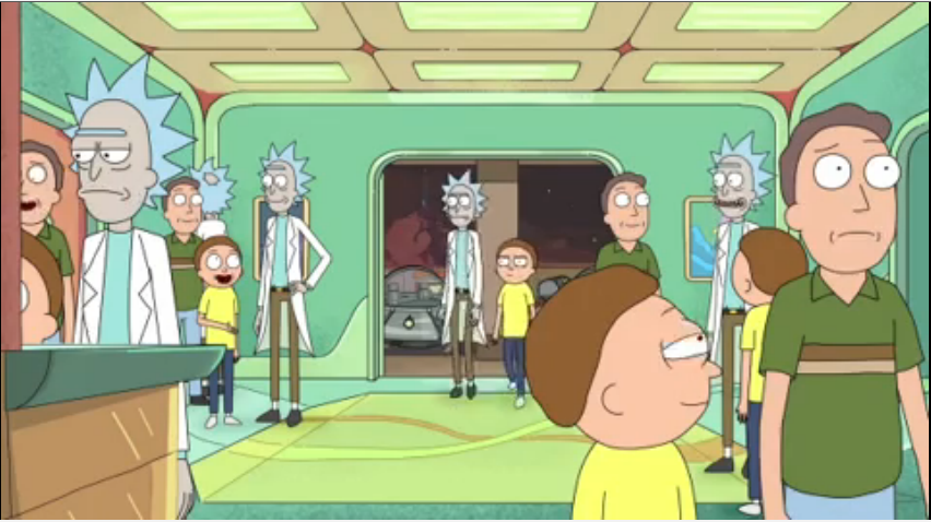 It ain't a Rick and Morty episode without a lot of Ricks and Mortys.