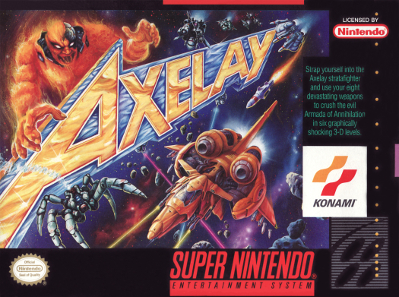 "Axelay - ""Strap yourself into the Axelay starfighter and use your eight devistating weapons to crush the evil Armada of Annihilation in six graphically shocking 3-D levels."""