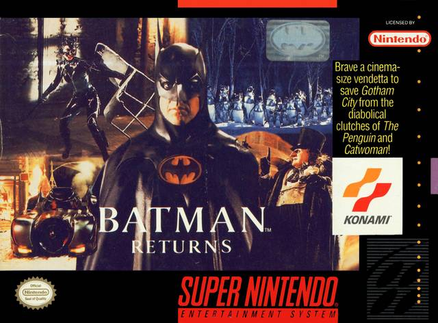 "Batman Returns - ""Brave a cinema-sized vendetta to save Gotham City from the diablolical clutches of The Penguin and Catwoman!"""
