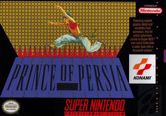 "Prince of Persia - ""Featuring superb graphic detail and incredibly fluid animation, this hit action adventure comes to Super NES with more thrills than a saber duel with a thousand sultans!"""