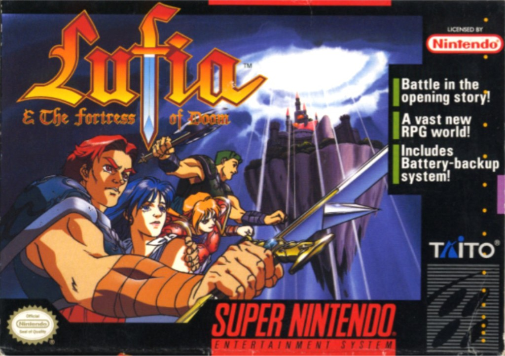 "Lufia - ""Battle ini the opening story! A vast new RPG world! Includes Battery-backup system!"""